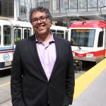 """Every one of these three-car trains that goes by has a capacity of 600 people. That means it's taking about 550 cars off the road. It makes a lot of sense,"" says Calgary Mayor Naheed Nenshi. Photo David Dodge, GreenEnergyFutures.ca"