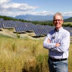 Kimberley Mayor Don McCormick at the mountain city's large sun tracking 1-megawatt solar farm a project designed to re-brand Kimberley as a modern, clean energy tourism town. Photo David Dodge, GreenEnergyFutures.ca