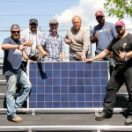 Just one of the groups that has taken the 5-day solar training course at Grid Works Energy Group in Edmonton, Alberta. Owner Randall Benson has trained more than 700 electricians in solar in the last six years. Solar jobs now total 174,000 in the U.S. surpassing coal jobs. Many places in Canada are just beginning to install solar, but it has enormous potential to diversify the economy and provide clean, low emissions electricity. Photo David Dodge, GreenEnergyFutures.ca