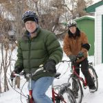 Green Energy Future's David Dodge and Keith Wallgren of RBF Cycles get ready to try a little winter cycling in the most northerly big city in North America. Photo Duncan Kinney, Green Energy Futures