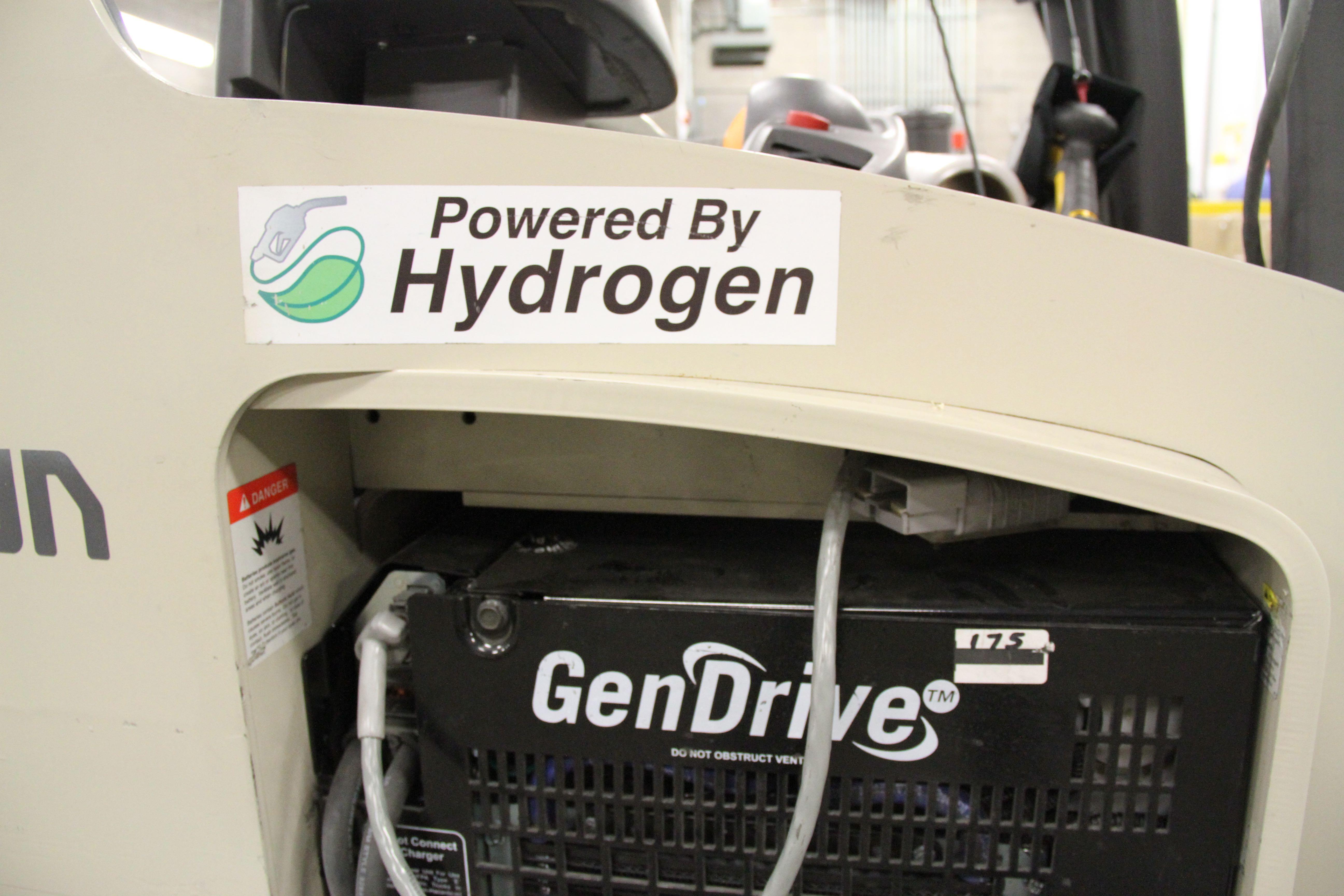 Powered by hydrogen sticker on a Walmart-SCM forklift